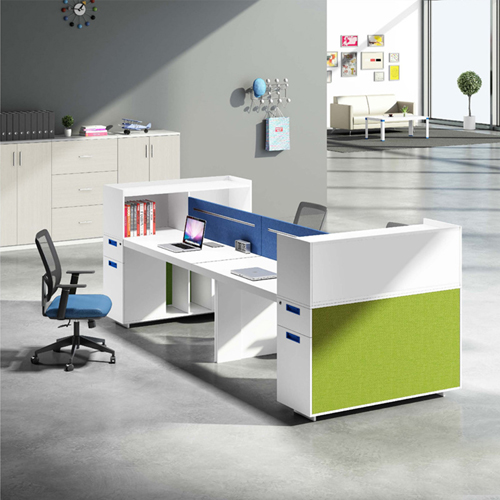 Screen Partition Staff Desk with Side Storage Image 2