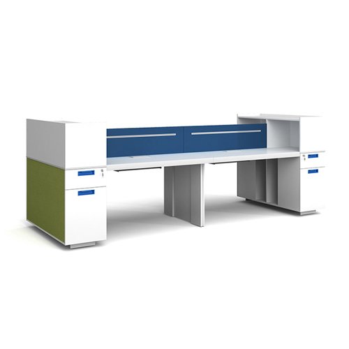 Screen Partition Staff Desk with Side Storage Image 4