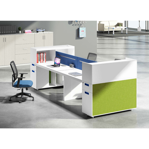 Screen Partition Staff Desk with Side Storage Image 6