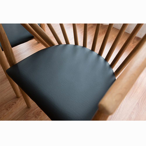 Curved Solid Wooden Upholstered Chair Image 9