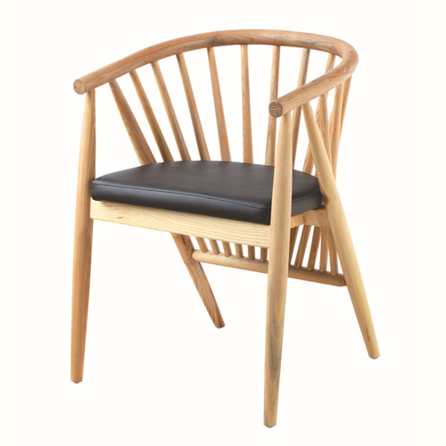 Curved Solid Wooden Upholstered Chair