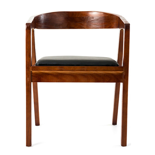 Sleek Wood Dining Arm Chair Image 2