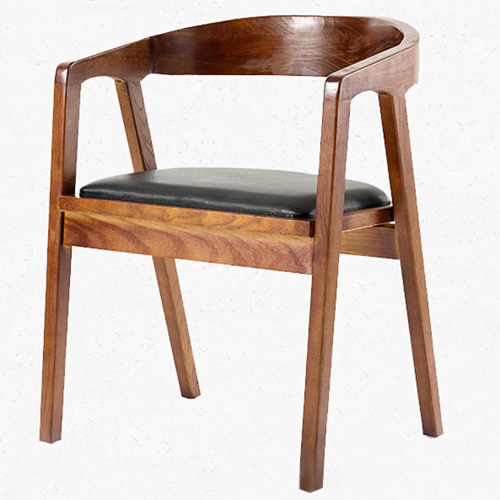 Sleek Wood Dining Arm Chair Image 4