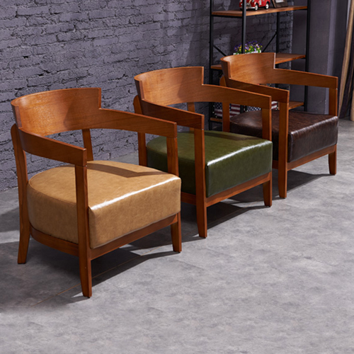 Dinette Wooden Frame Cushion Armchair Image 11