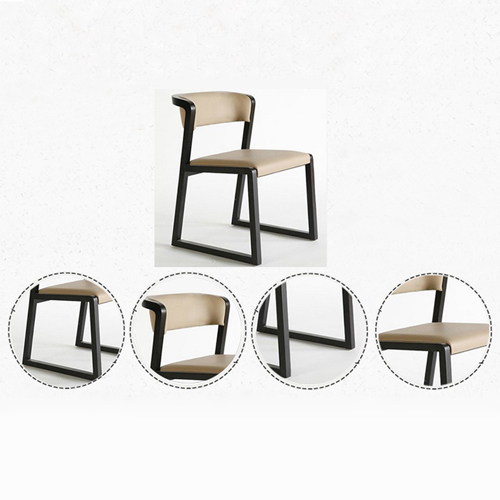 Comvex Leather Seat Wooden Dining Chair Image 9