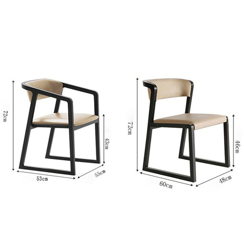 Comvex Leather Seat Wooden Dining Chair Image 11