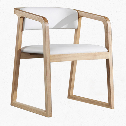 Comvex Leather Seat Wooden Dining Chair Image 2