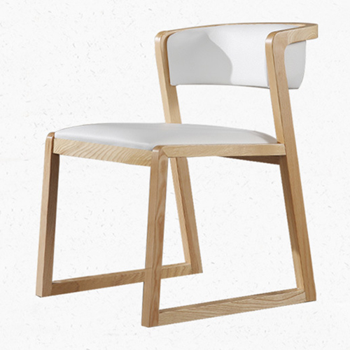 Comvex Leather Seat Wooden Dining Chair Image 3