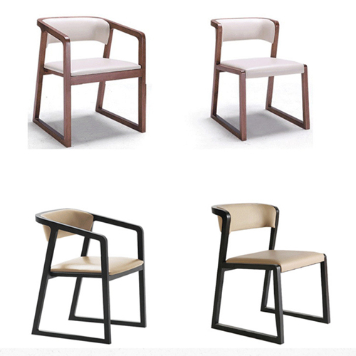 Comvex Leather Seat Wooden Dining Chair