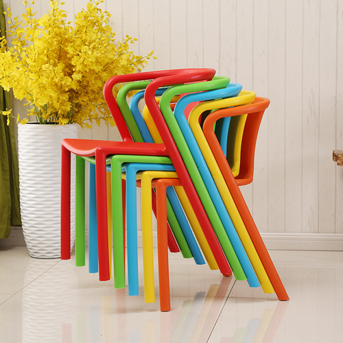 Sleek Stackable Plastic Chair Image 1