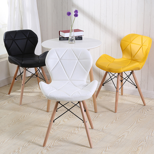 Eiffel Padded Seat Wood Leg Chair Image 1