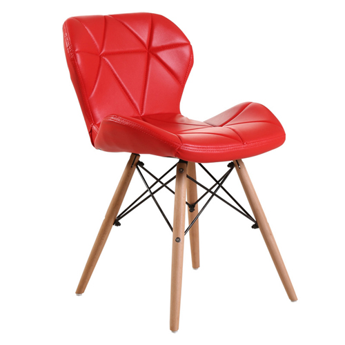 Eiffel Padded Seat Wood Leg Chair Image 4