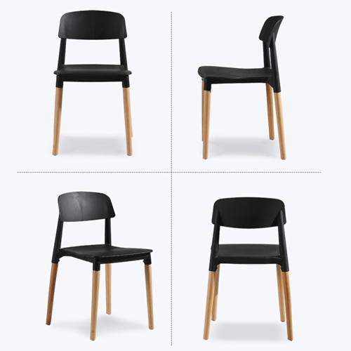 Molded Stackable Chair With Wooden Leg