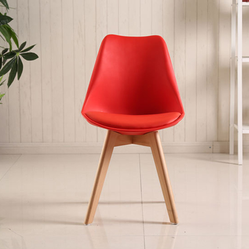 Padded Dining Chair With Crossed Wood Leg Image 9