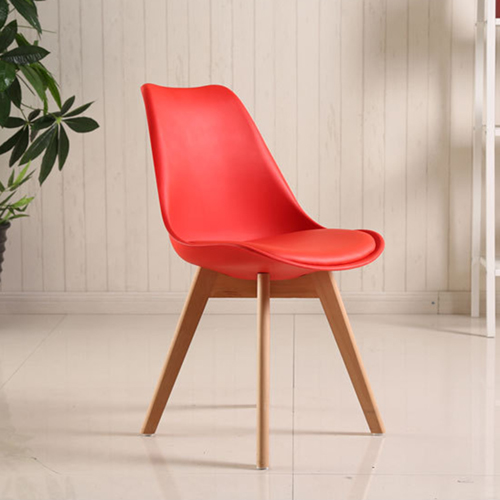 Padded Dining Chair With Crossed Wood Leg Image 10
