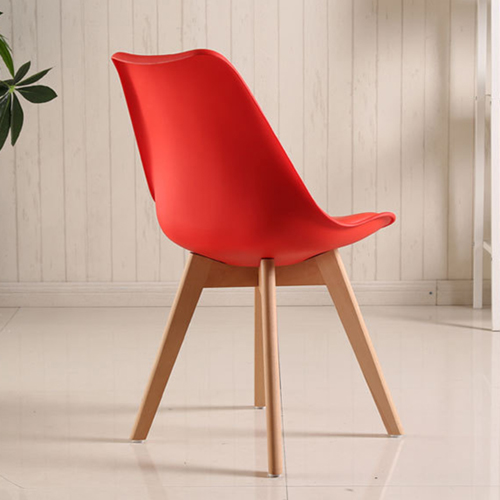 Padded Dining Chair With Crossed Wood Leg Image 12