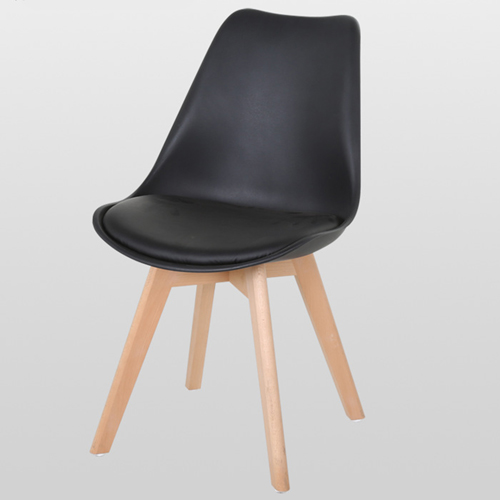 Padded Dining Chair With Crossed Wood Leg Image 1