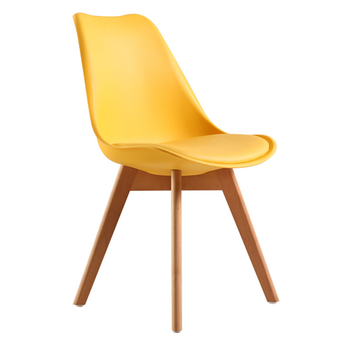 Padded Dining Chair With Crossed Wood Leg