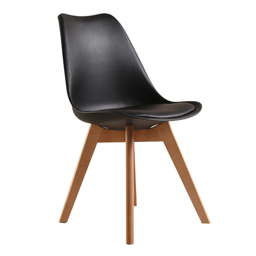 Padded Dining Chair With Crossed Wood Leg Image 4