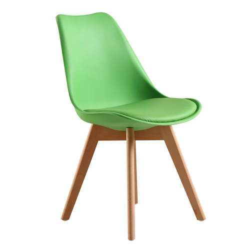 Padded Dining Chair With Crossed Wood Leg Image 5