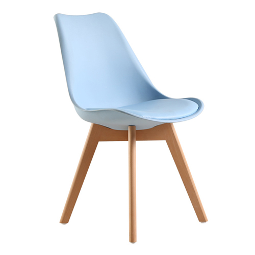 Padded Dining Chair With Crossed Wood Leg Image 6