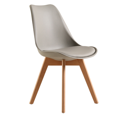 Padded Dining Chair With Crossed Wood Leg Image 7