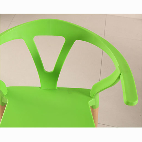 Wishbone Plastic Chair with Wooden Legs Image 10
