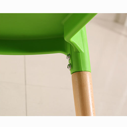 Wishbone Plastic Chair with Wooden Legs Image 11