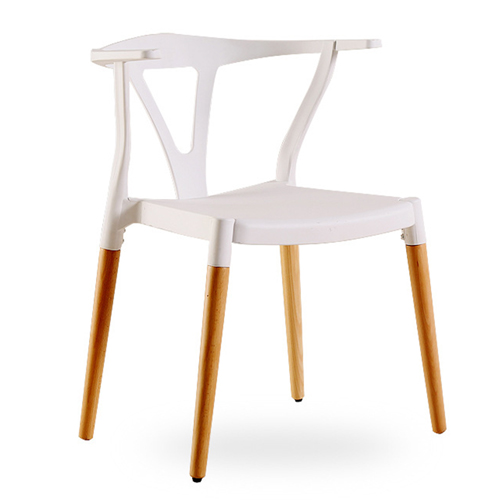 Wishbone Plastic Chair with Wooden Legs