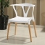 Wishbone Plastic Chair with Wooden Legs Image 1