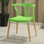Wishbone Plastic Chair with Wooden Legs Image 2