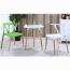 Wishbone Plastic Chair with Wooden Legs Image 4