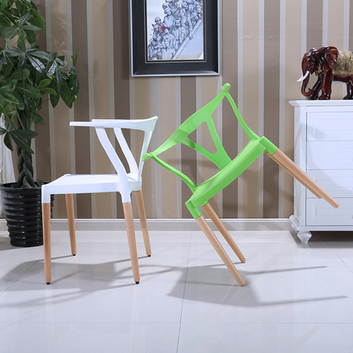 Wishbone Plastic Chair with Wooden Legs Image 6