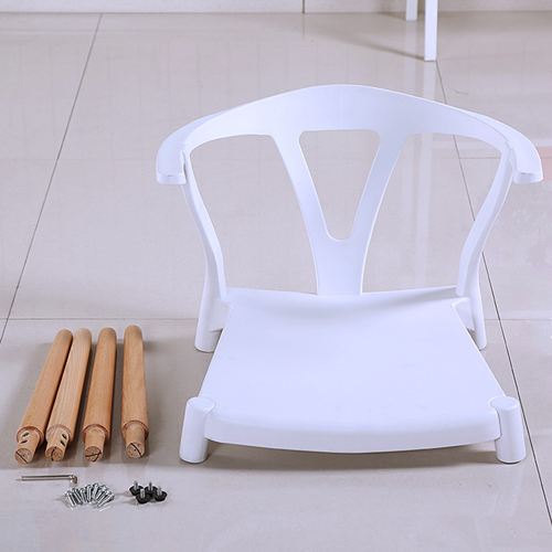Wishbone Plastic Chair with Wooden Legs Image 8