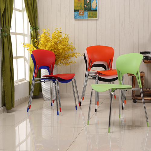 Creative Chrome Plastic Dining Chair Image 1