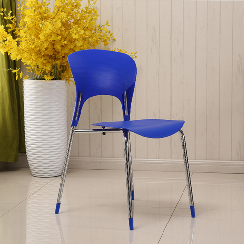 Creative Chrome Plastic Dining Chair Image 2
