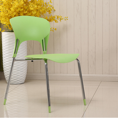 Creative Chrome Plastic Dining Chair Image 3
