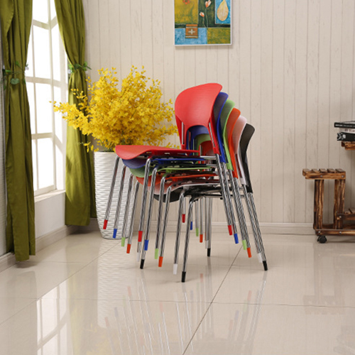 Creative Chrome Plastic Dining Chair Image 6