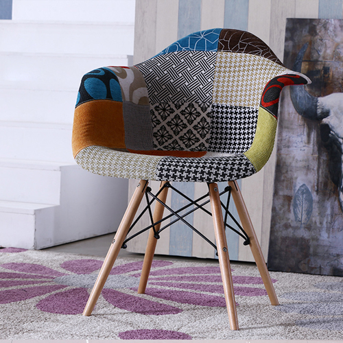 Patchwork Upholstered Mid-Century Armchairs Image 1