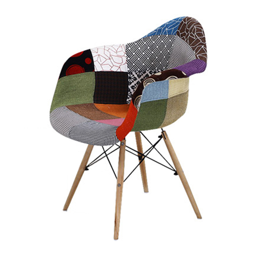 Patchwork Upholstered Mid-Century Armchairs