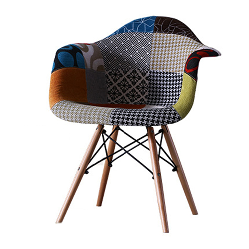 Patchwork Upholstered Mid-Century Armchairs Image 3