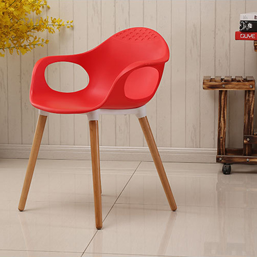 Wooden Feet Plastic Dining Armchair