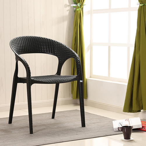 Moulded Plastic Rattan Armchair Image 1