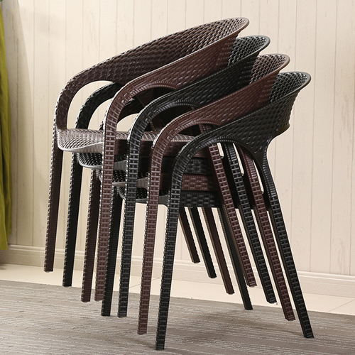 Moulded Plastic Rattan Armchair Image 3