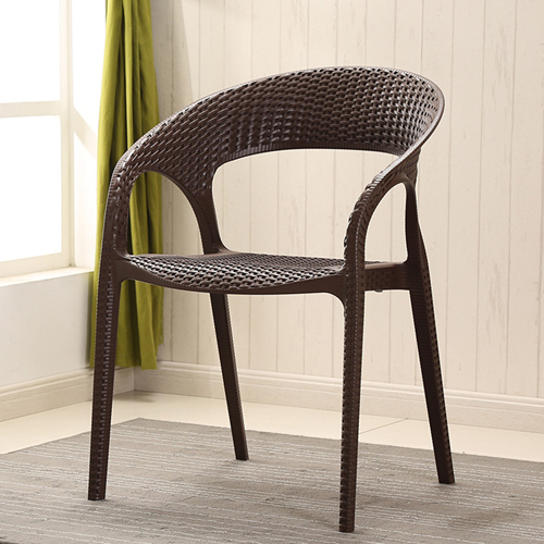 Moulded Plastic Rattan Armchair Image 4
