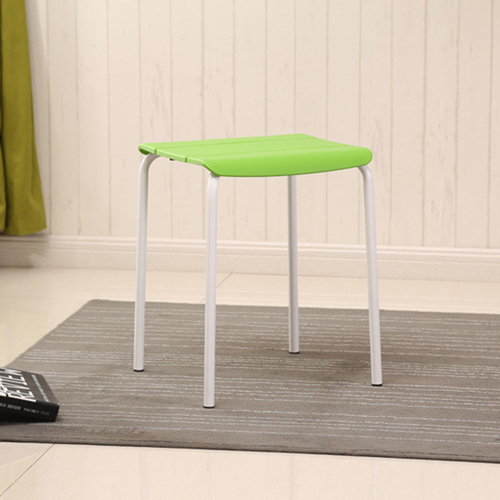 Square Plastic Sitting Stool With Metal Legs Image 9