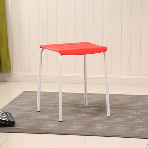 Square Plastic Sitting Stool With Metal Legs Image 11