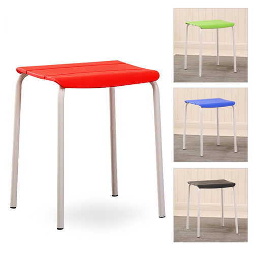 Square Plastic Sitting Stool With Metal Legs