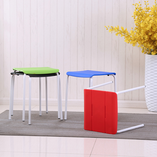 Square Plastic Sitting Stool With Metal Legs Image 1
