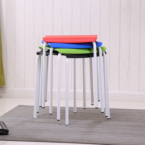 Square Plastic Sitting Stool With Metal Legs Image 2
